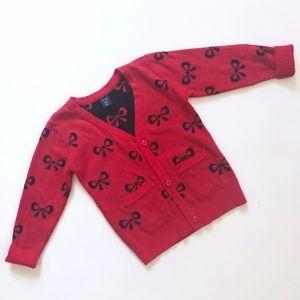 Girls Gap Red Cardigan Sweater Black Bows 2T